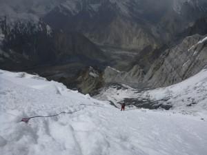 Fixní lana v cca 5600m